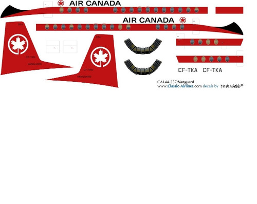 1/144 Scale Decal Air Canada Vanguard