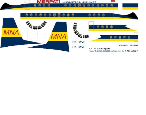 1/144 Scale Decal Merpati Nusantara Airlines Vanguard