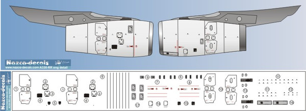 1/144 Scale Decal Detail Sheet for A-330 Trent 772B Engines