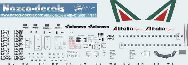 1/144 Scale Decal Alitalia / Avianova ATR-42