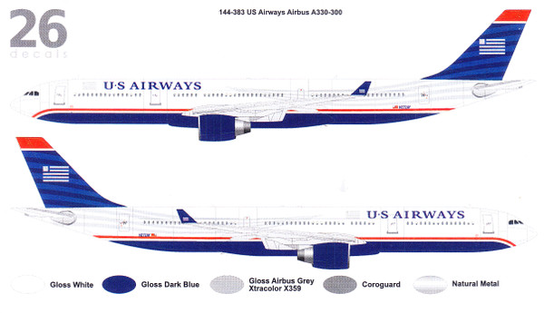 1/144 Scale Decal US Airways Airbus A330-300