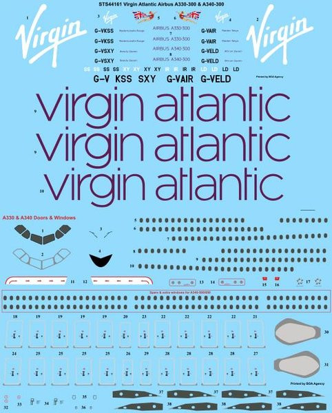 1/144 Scale Decal Virgin Atlantic Airbus A330-300 & A340-300