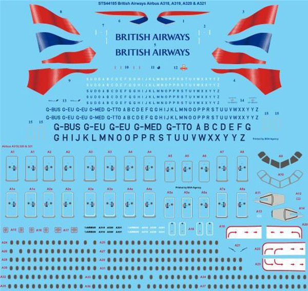 1/144 Scale Decal British Airways Airbus A318, A319, A320, A321