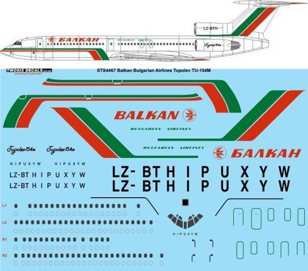 1/144 Scale Decal Balkan Bulgarian Airlines Tupolev Tu-154M