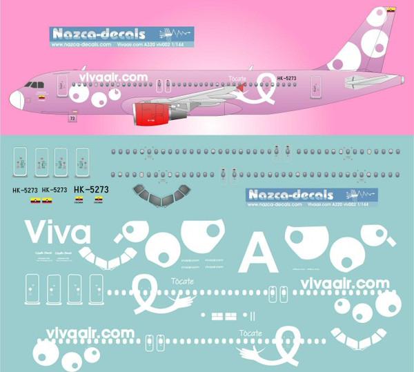 1/200 Scale Decal Vivaair.com A-320 Rosa