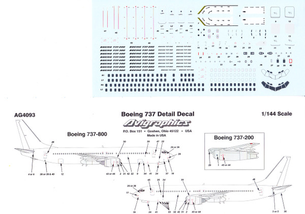 1/144 Scale Decal Detail Sheet 737