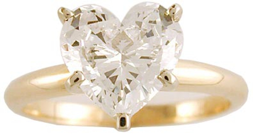 1.50 Carat Heart CZ Solitaire in 14 Karat Yellow Gold
