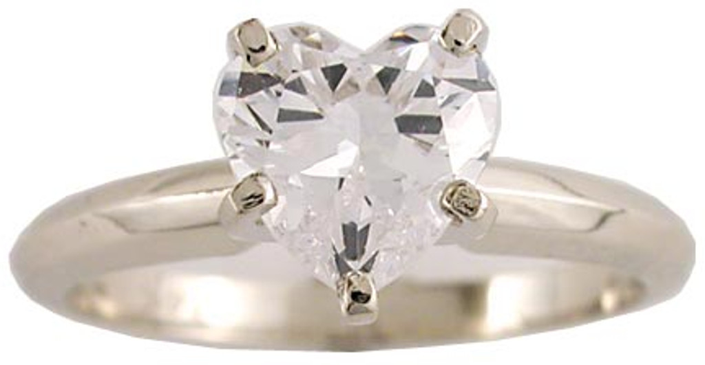 1 Carat Heart CZ Solitaire in 14 Karat White Gold