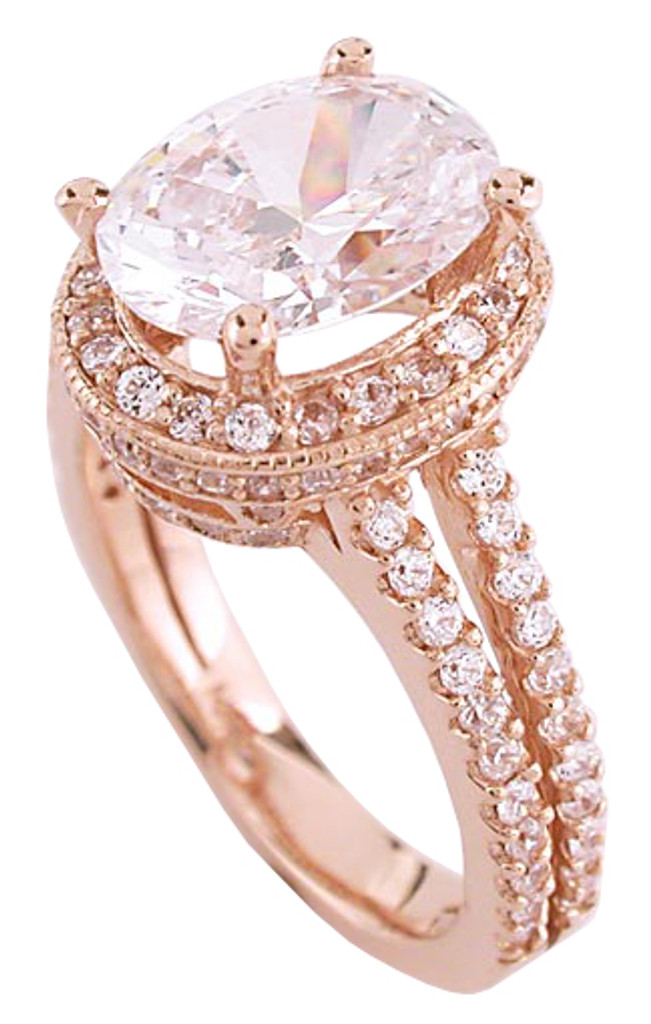 2.75 Carat Oval Cubic Zirconia Halo Ring
