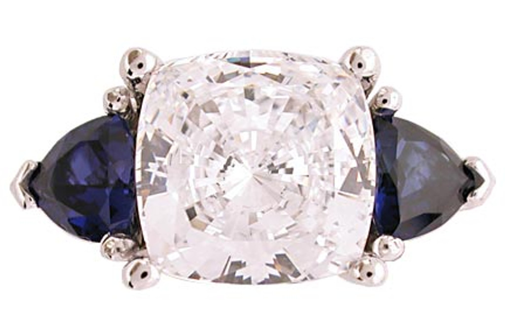 4 Carat Cushion Cut Cz 3 Stone Ring