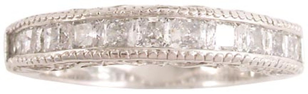 Solid 14 Karat White Gold Engraved Band