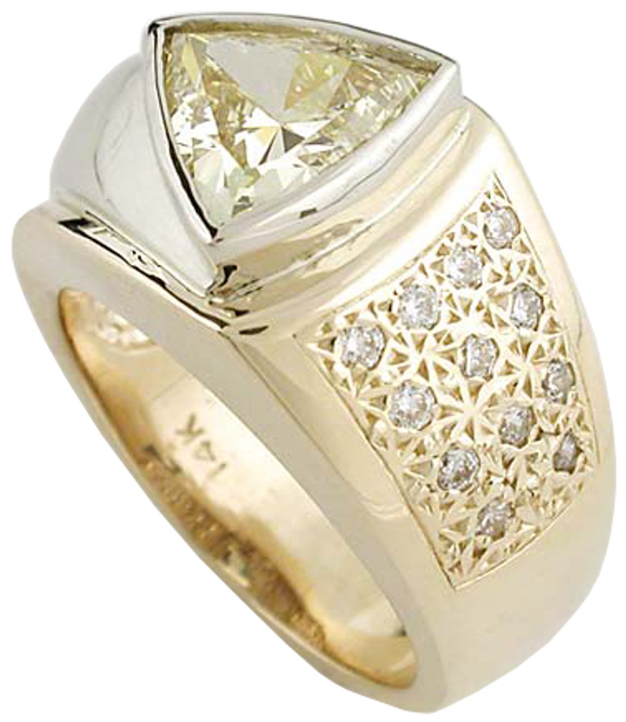 Canary CZ Mens Ring