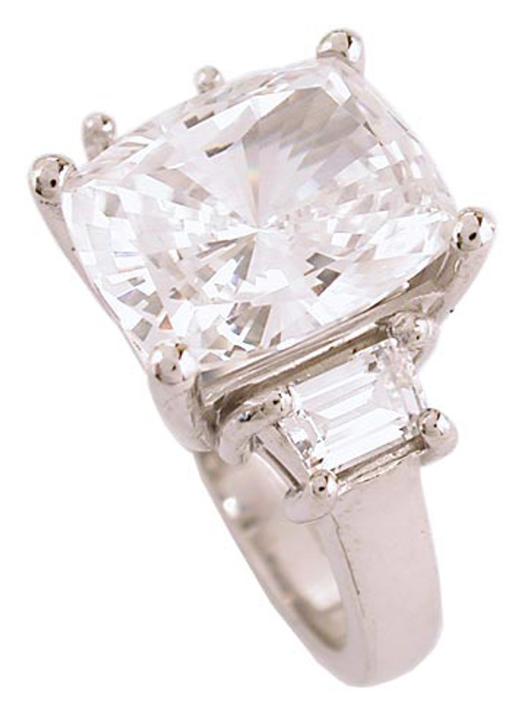 Best Quality CZ Cushion Cut 3 Stone Ring
