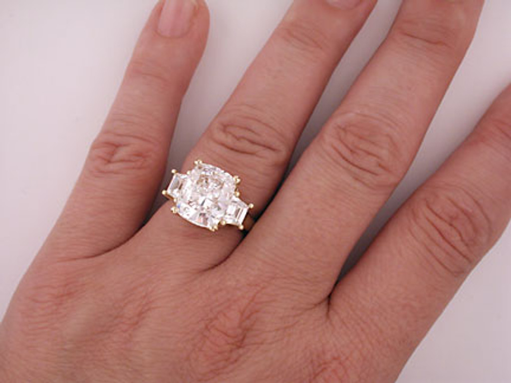 Cushion Cut Setting With .33Ct Trapezoid Set On Each Side