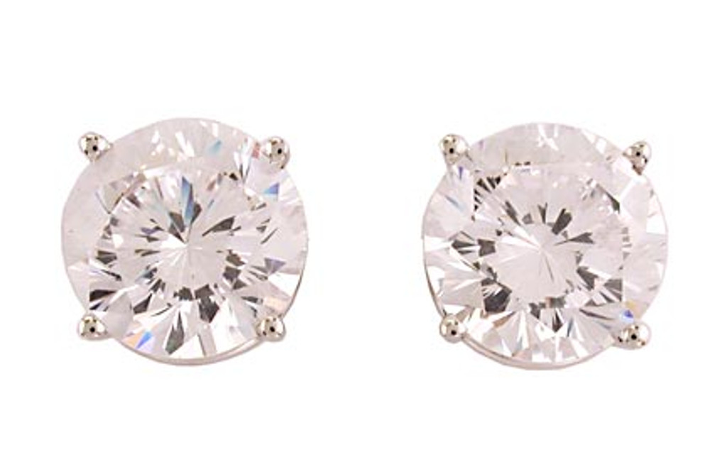 2.00Ct/4.00 TCW 14K White Gold CZ 4 Prong Stud Earrings