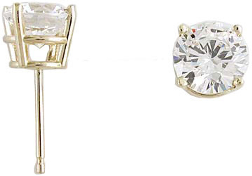 1.00Ct/2.00 TCW 14K Yellow Gold Cubic Zirconia 4 Prong Studs