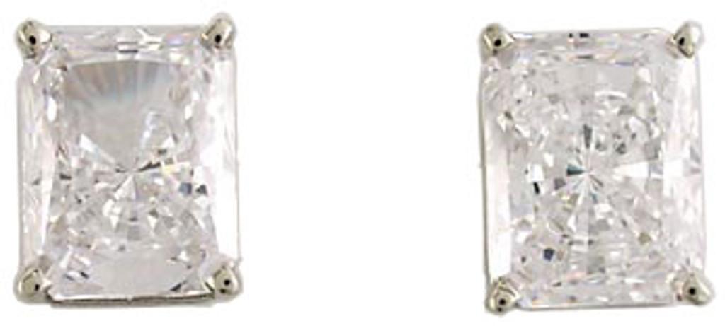 2.50Ct/5.00 TCW Radiant Emerald Cut Cubic Zirconiac Studs