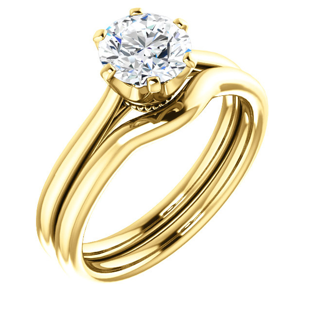 1.00CT Custom Designer Solitaire 14Kt Yellow Gold Crown Setting With Matching Band