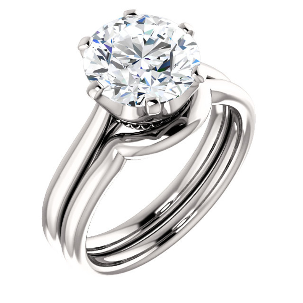 3.00CT Custom Solitaire 14Kt White Gold Crown Setting With Matching Band