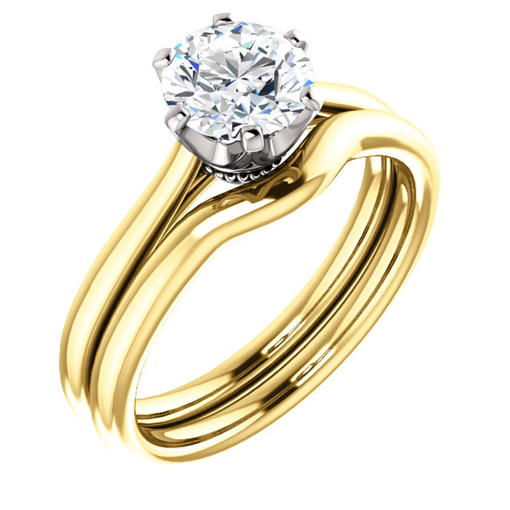 1.00CT Custom Designer Solitaire 14Kt Gold Two Tone Crown Setting With Matching Band