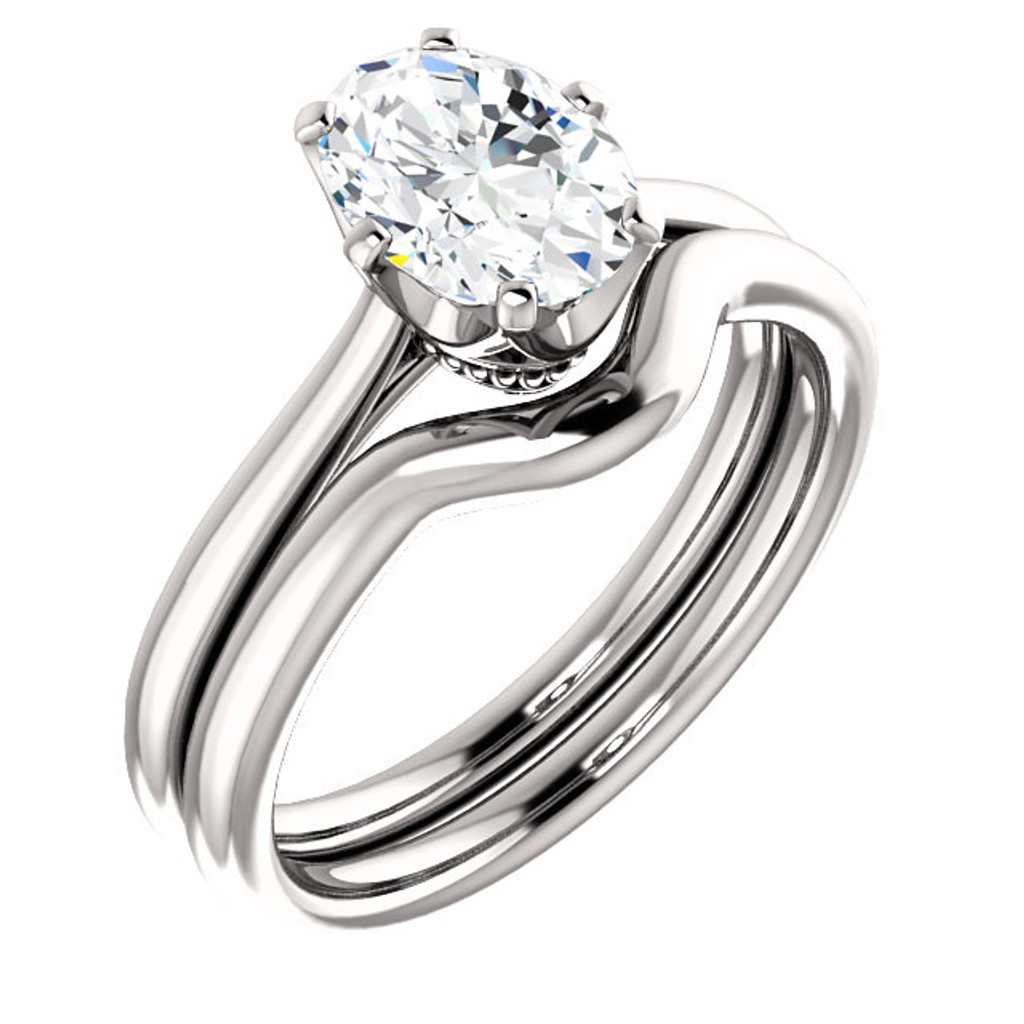 1.00CT Oval Custom Designer Solitaire 14Kt White Gold Crown Setting With Matching Band