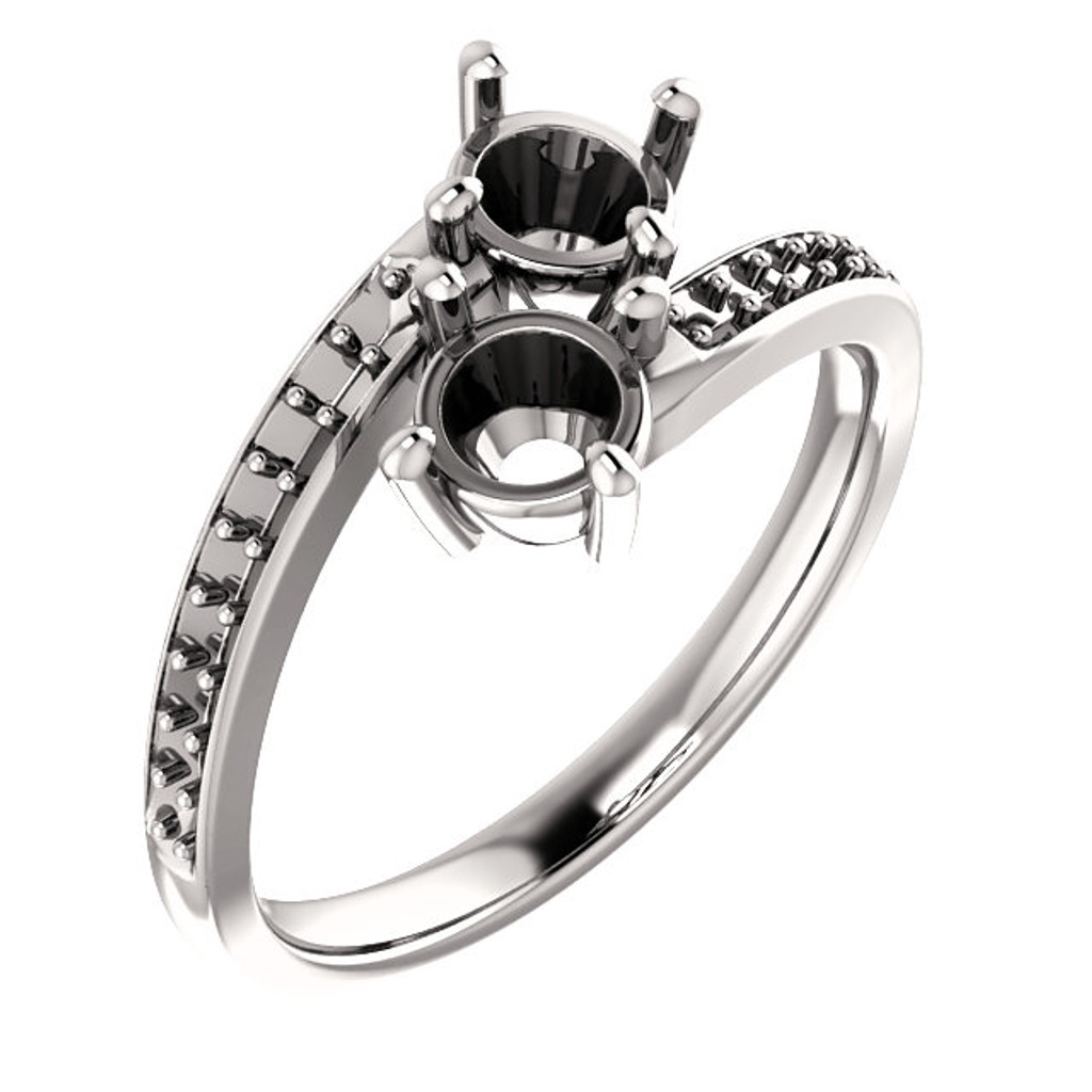 .50ct Each Round 14Kt White Gold Custom 2 Stone Accented Band Engagement Ring