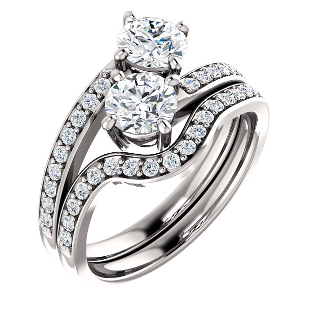 .50ct Each Round 14Kt White Gold Custom 2 Stone Engagement Ring With Matching Band