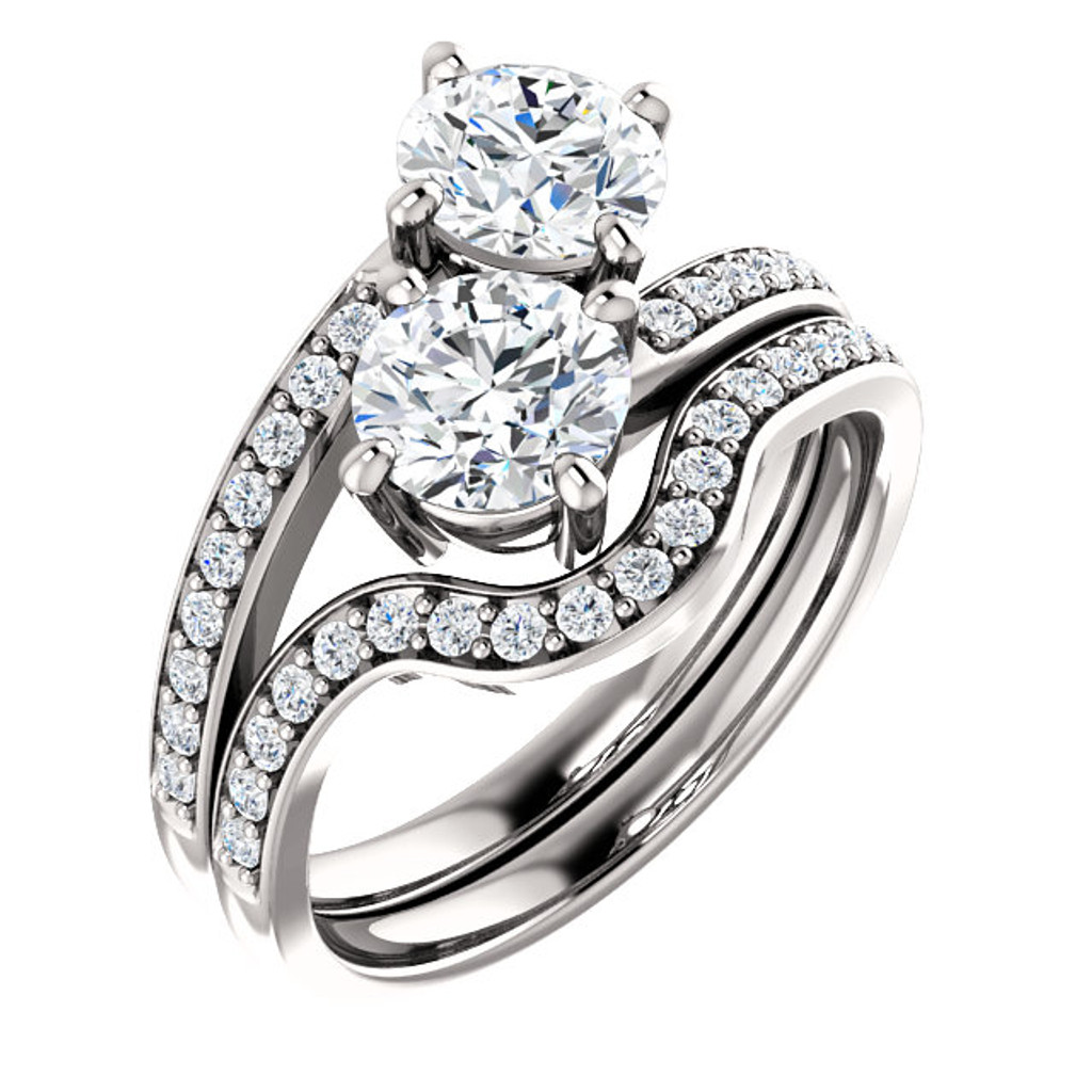 .75ct Each Round 14Kt White Gold Custom 2 Stone Accented Band Engagement Ring