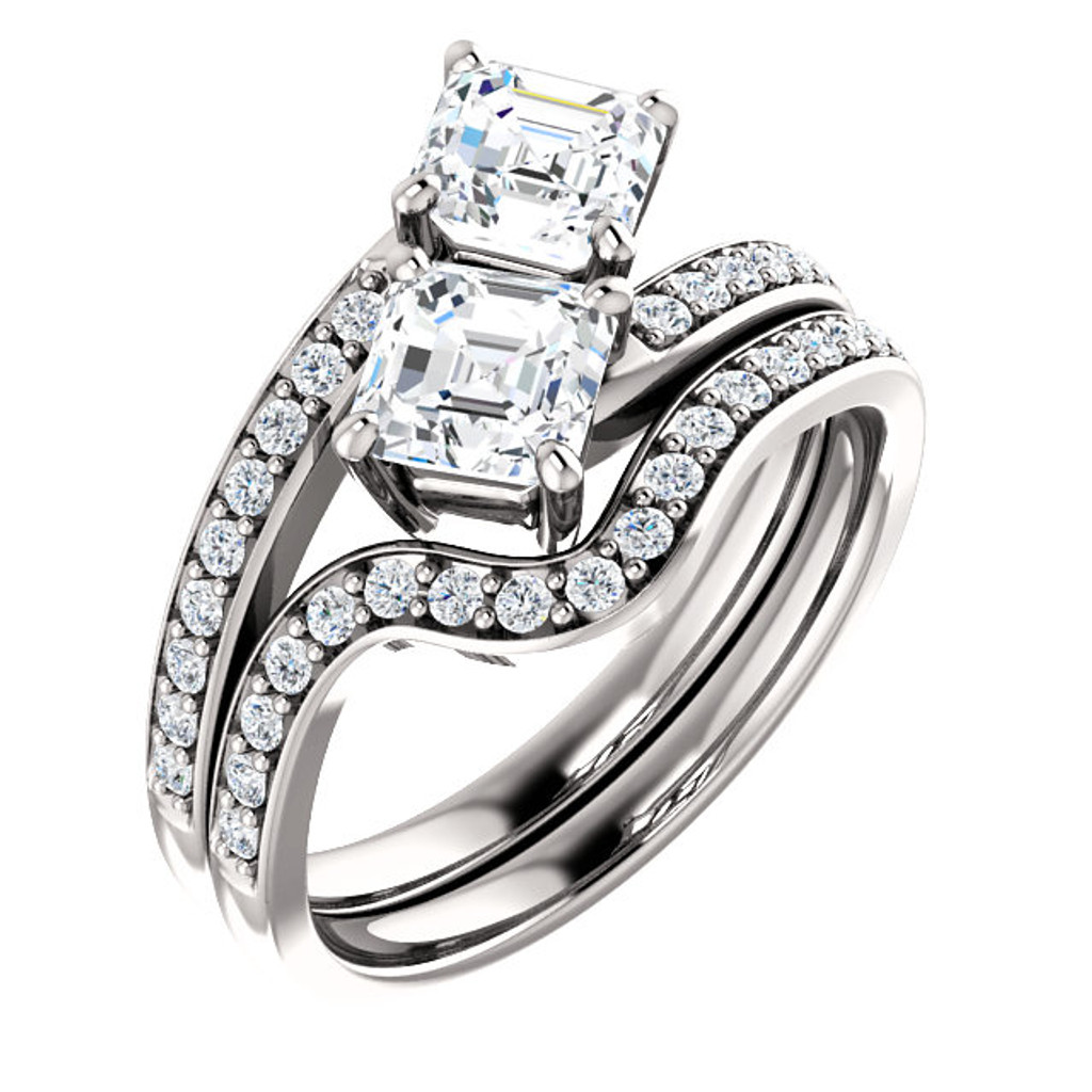 .50ct Each Asscher Cut 14Kt White Gold Custom 2 Stone Engagement Ring With Matching Band