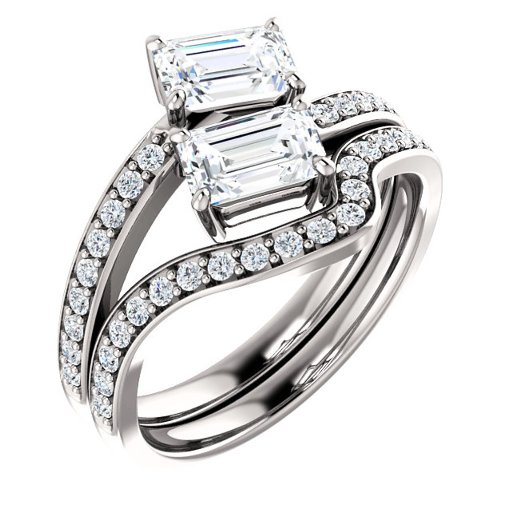 .50ct Each Emerald Cut 14Kt White Gold Custom 2 Stone Engagement Ring With Matching Band