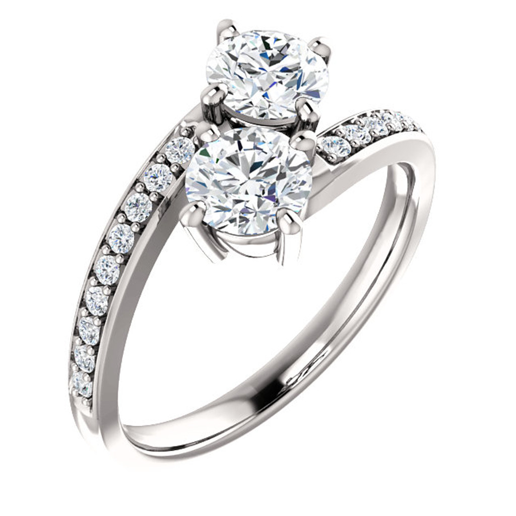 Gorgeous .50 Carat Each 14k White Gold Two Stone Engagement Ring
