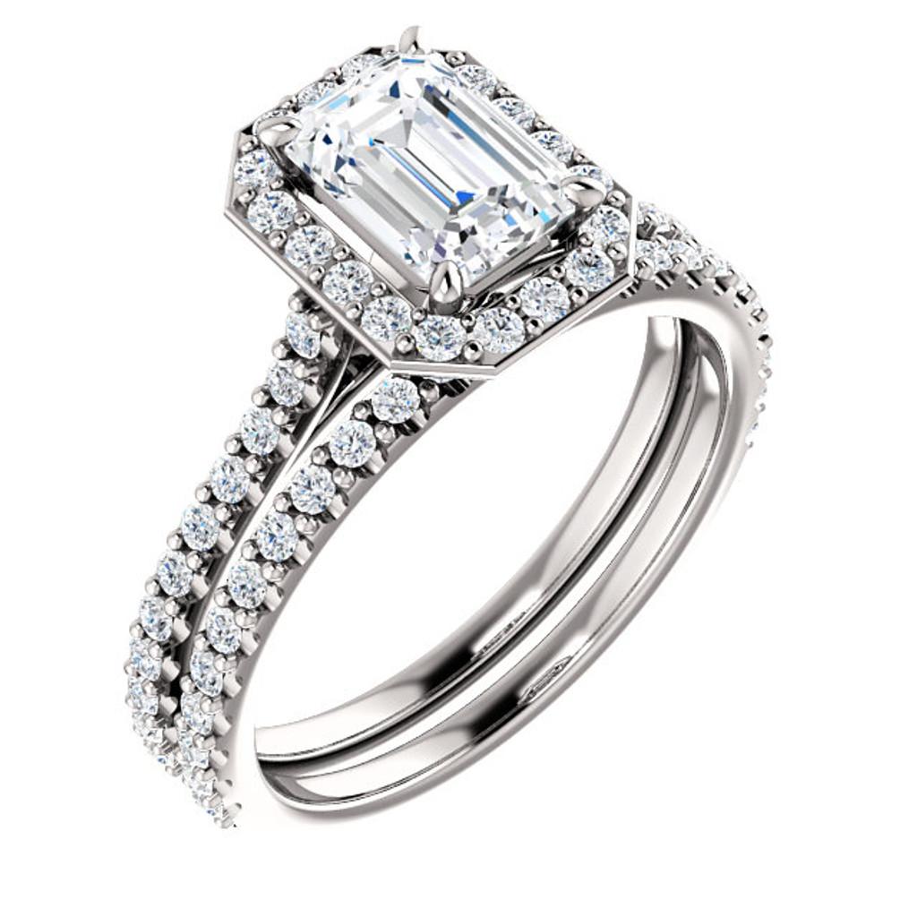1 Carat Emerald Cut Halo Engagement Ring