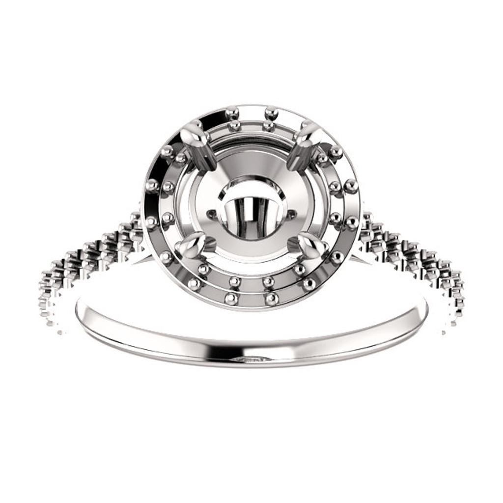 14 Karat White Gold Halo Engagement Ring