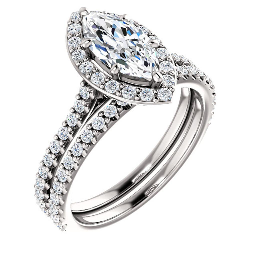 1 Carat Marquise Halo Wedding Set
