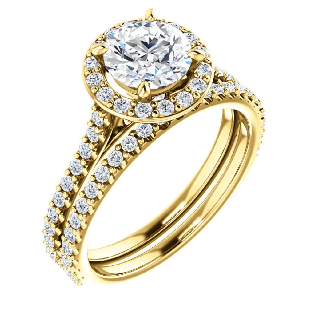 1 Carat 14 Karat Yellow Gold Halo Wedding Set