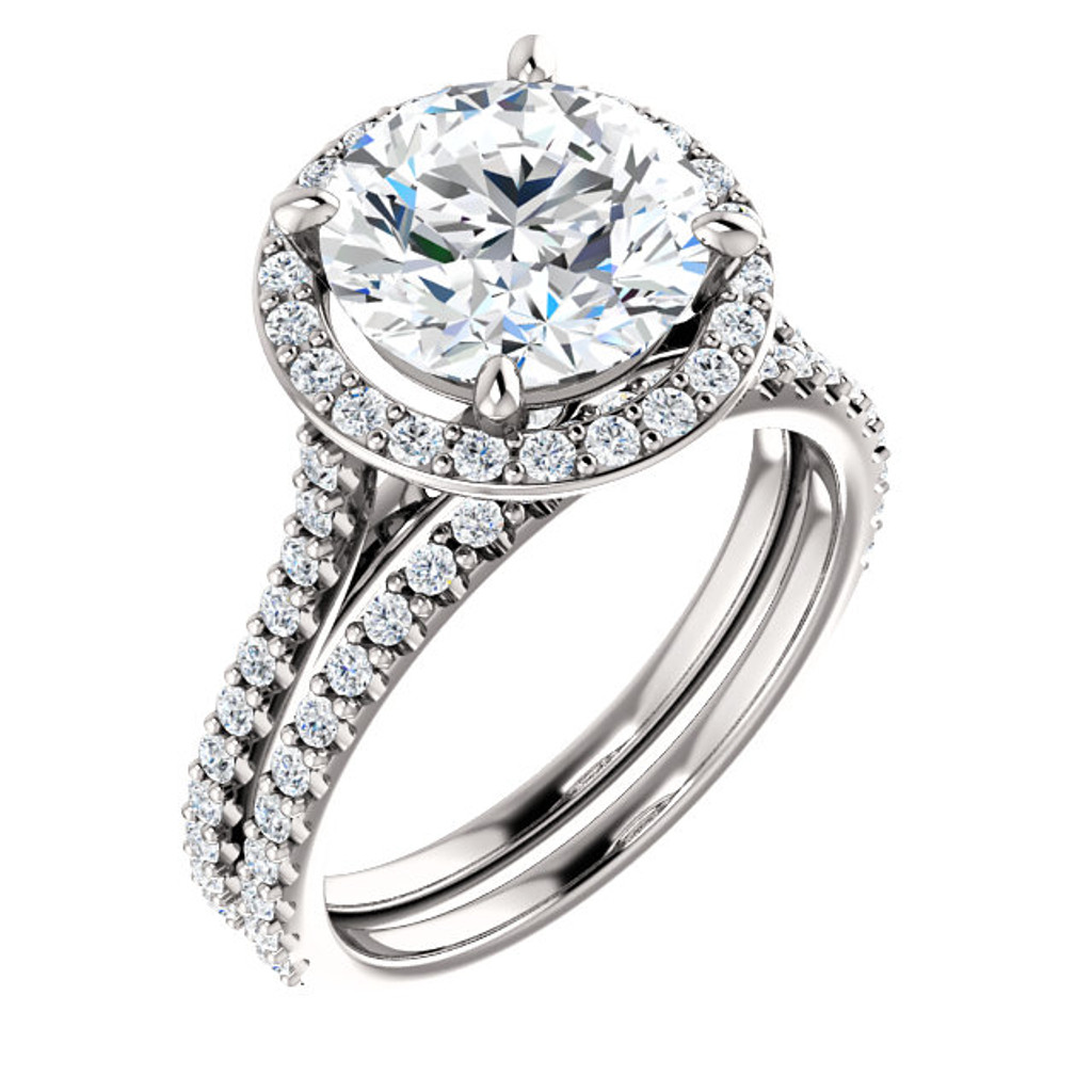 2 Carat Round Halo Engagement Ring