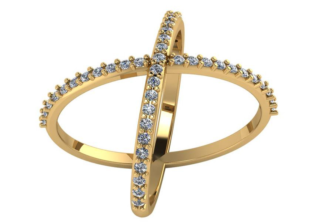 Cubic Zirconia Criss Cross Ring