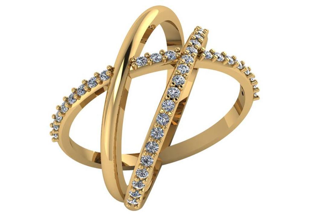Cubic Zirconia Criss Cross Ring