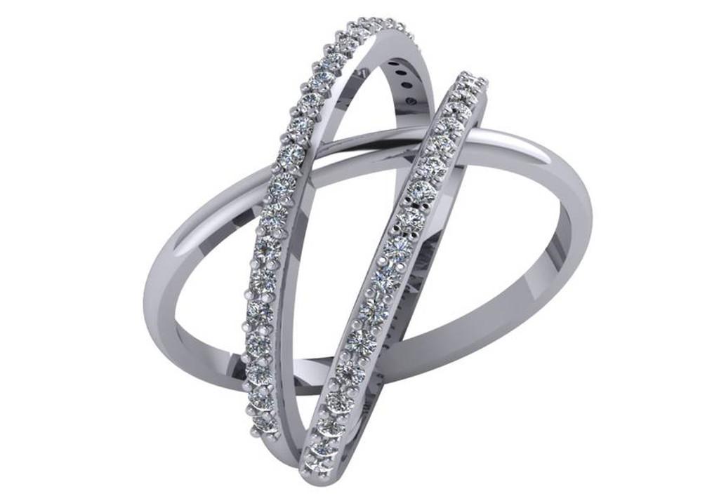 CZ Triple Criss Cross Ring