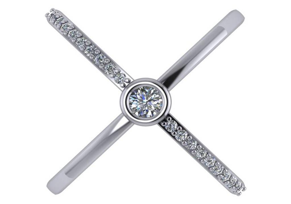Bezel Set CZ Criss Cross Ring