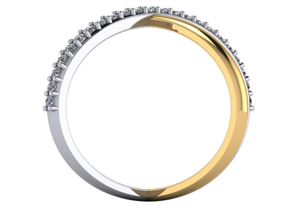 Two Tone CZ Criss Cross Ring
