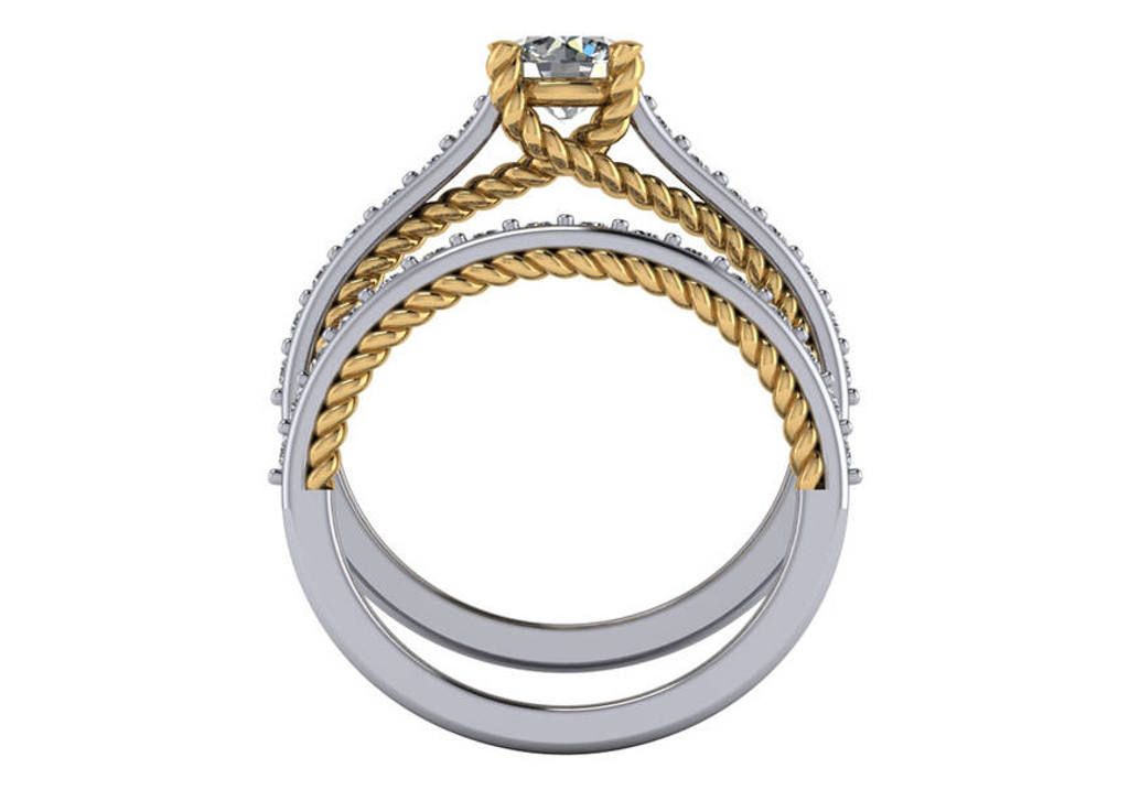 Solid 14 Karat White & Yellow Gold