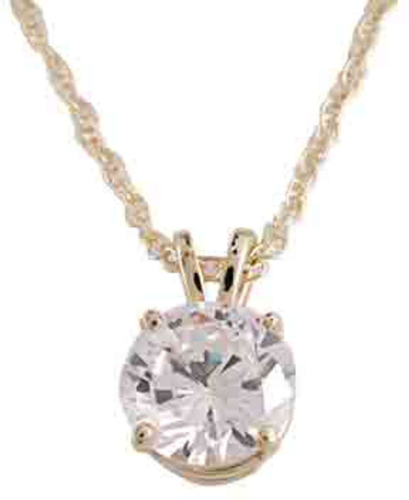 Highest Quality 1.25Ct Round Cubic Zirconia Gold Pendant