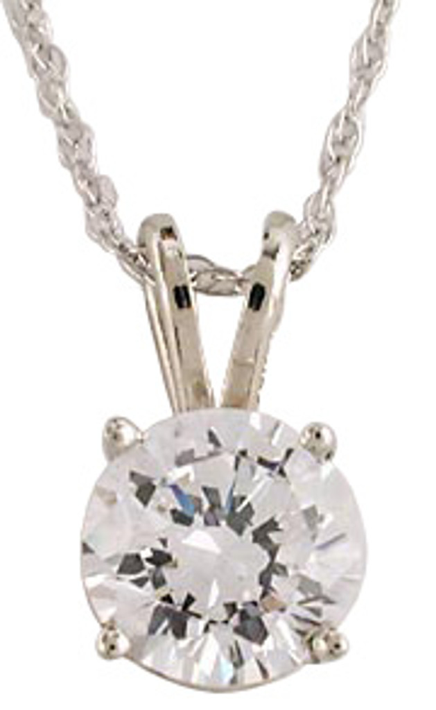 1.25Ct Round Cubic Zirconia Pendant in Solid 14 Karat White Gold