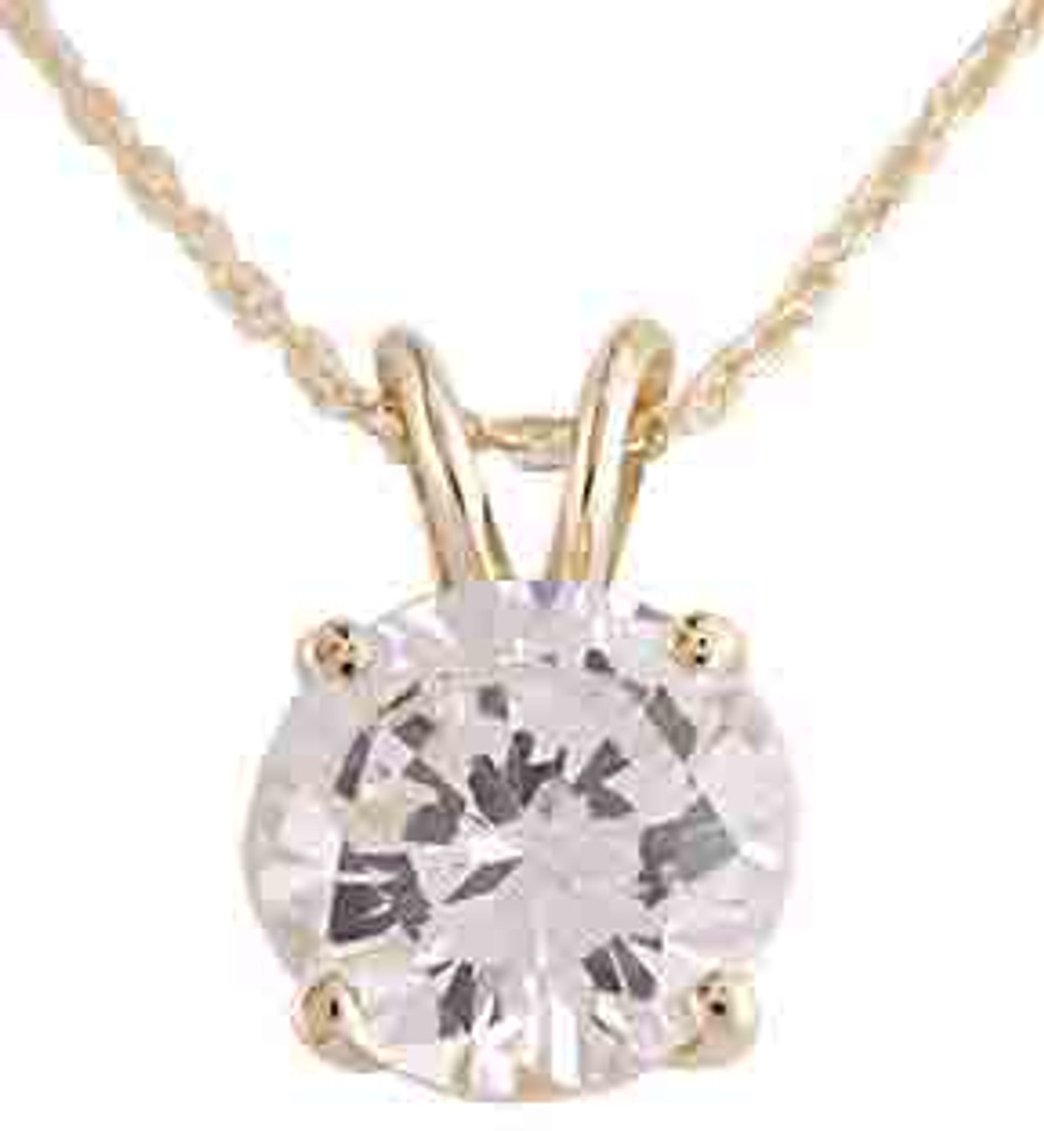 Beautiful 4.00Ct Round Cubic Zirconia Pendant in 14 Karat Gold