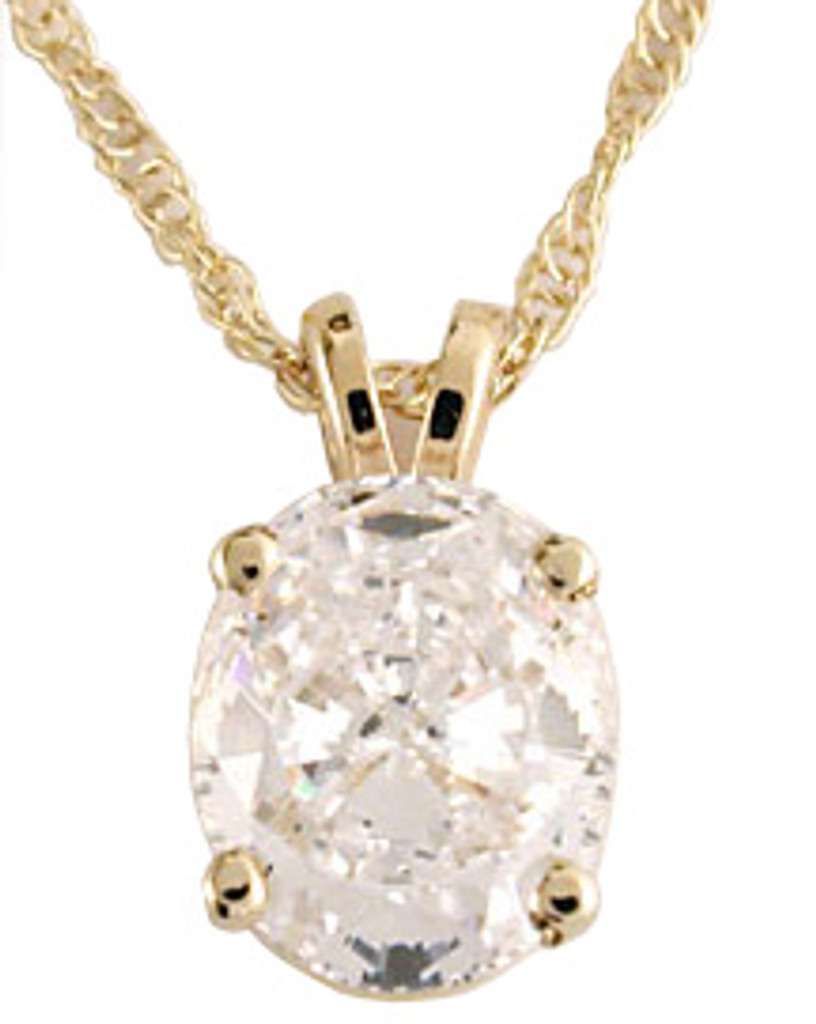 Stunning 2.00Ct Special Cut Oval  Cubic Zirconia Pendant 14K Gold