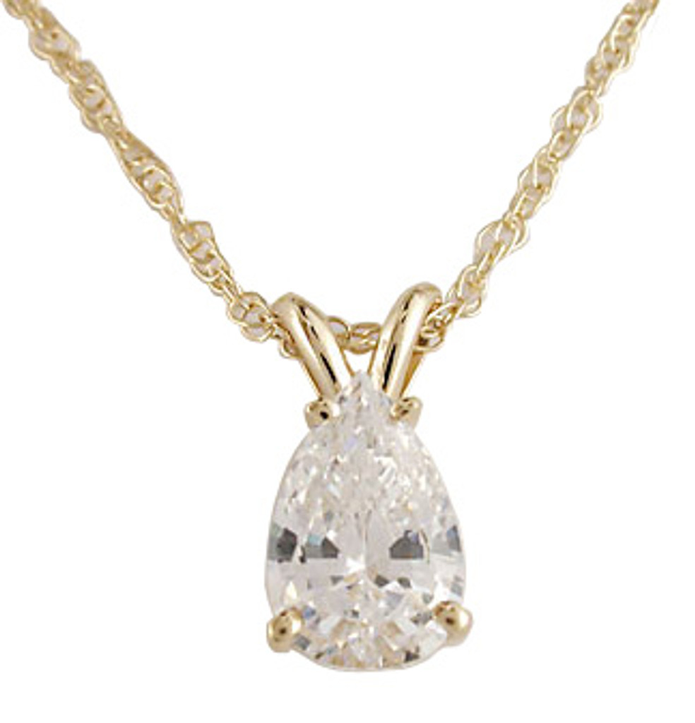 Solid 14 Karat Yellow Gold Setting With A 1.00Ct Pear CZ