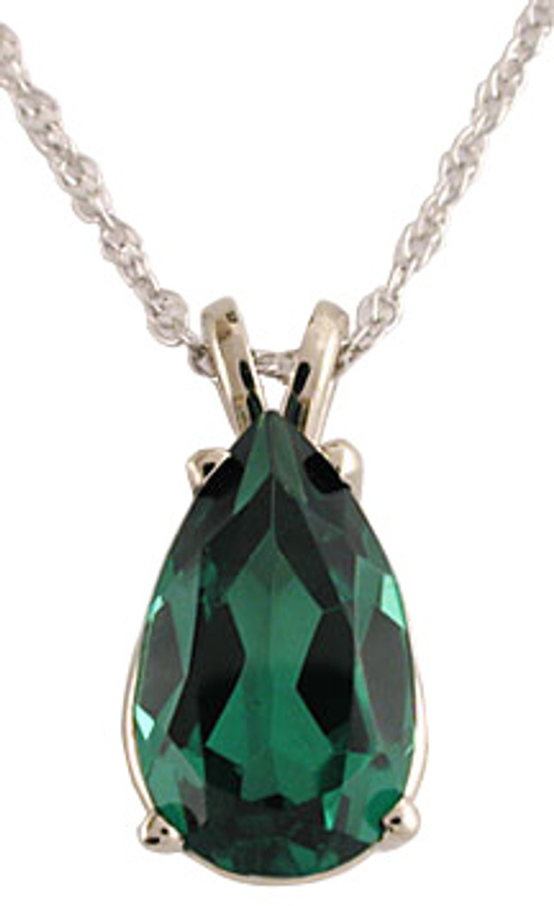 Gorgeous 3.00Ct Emerald Pear Cubic Zirconia Pendant