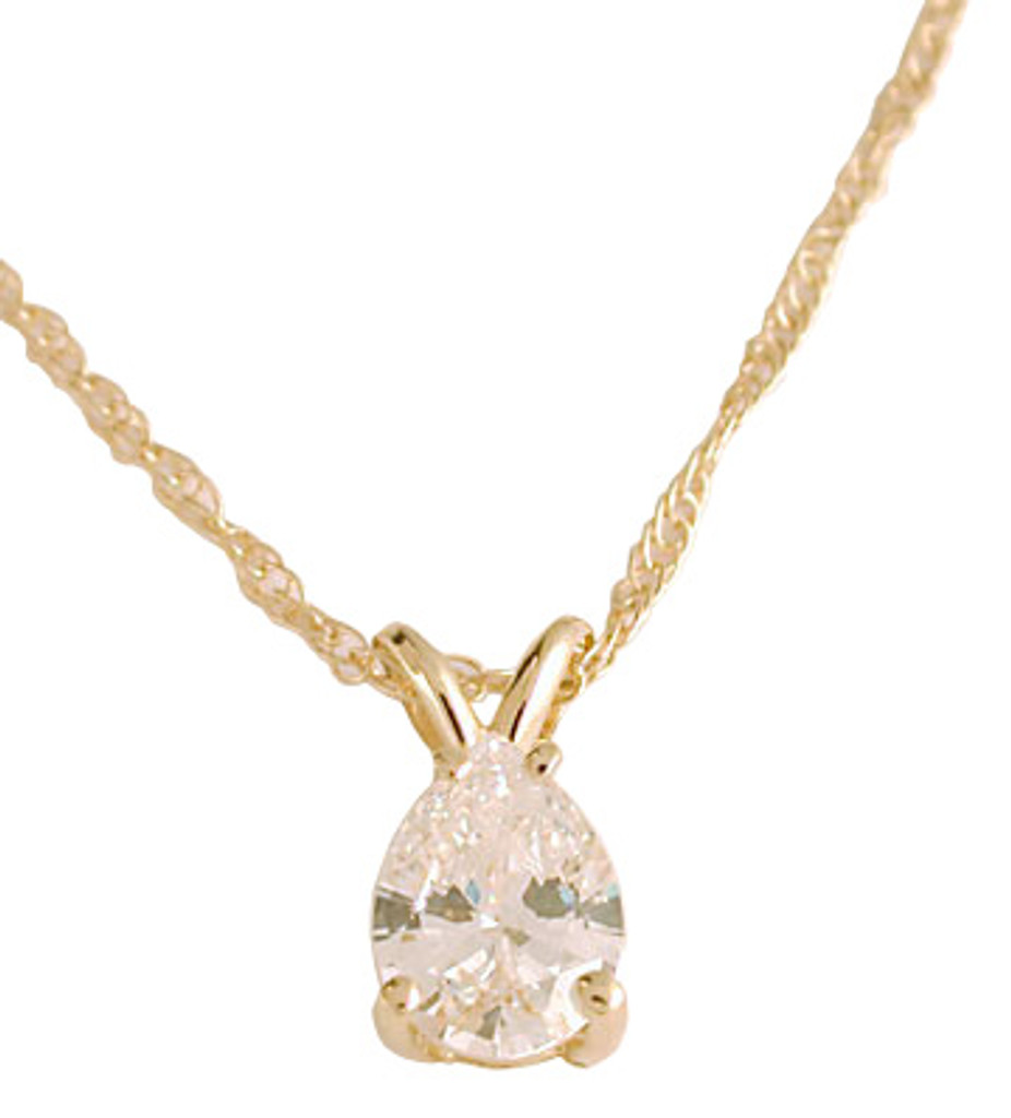 Stunning Lab Created .75Ct Pear CZ Pendant