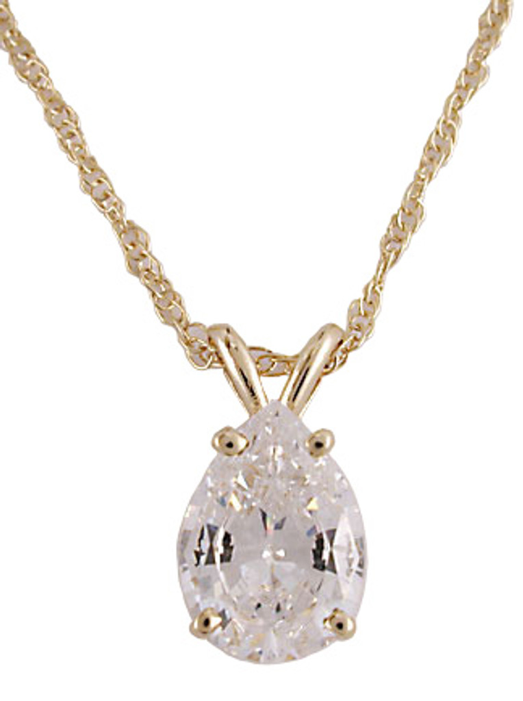 2.00 Carat Highest Quality Pear Cubic Zirconia Pendant 14Kt Gold